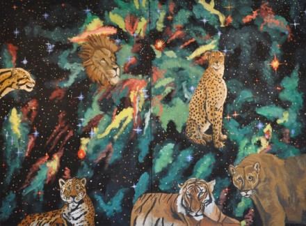 Big Cats in Space 2012 acrylic on canvas 60x80in