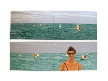 Sailboats 1998 acrylic on canvas (2 panels @ 24x72in)