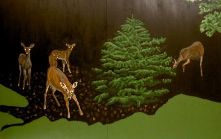 Twilight Deer 2003 acrylic on canvas 62x96in
