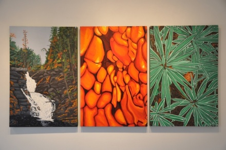Water, Fire, & Earth (triptych) acrylic on canvas 36x72
